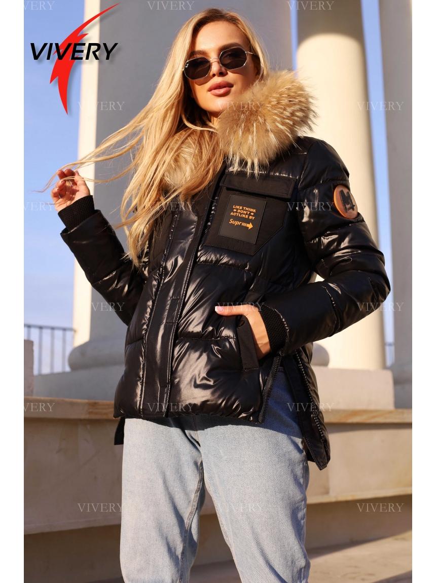 Короткая зимняя куртка с мехом 921212, черная