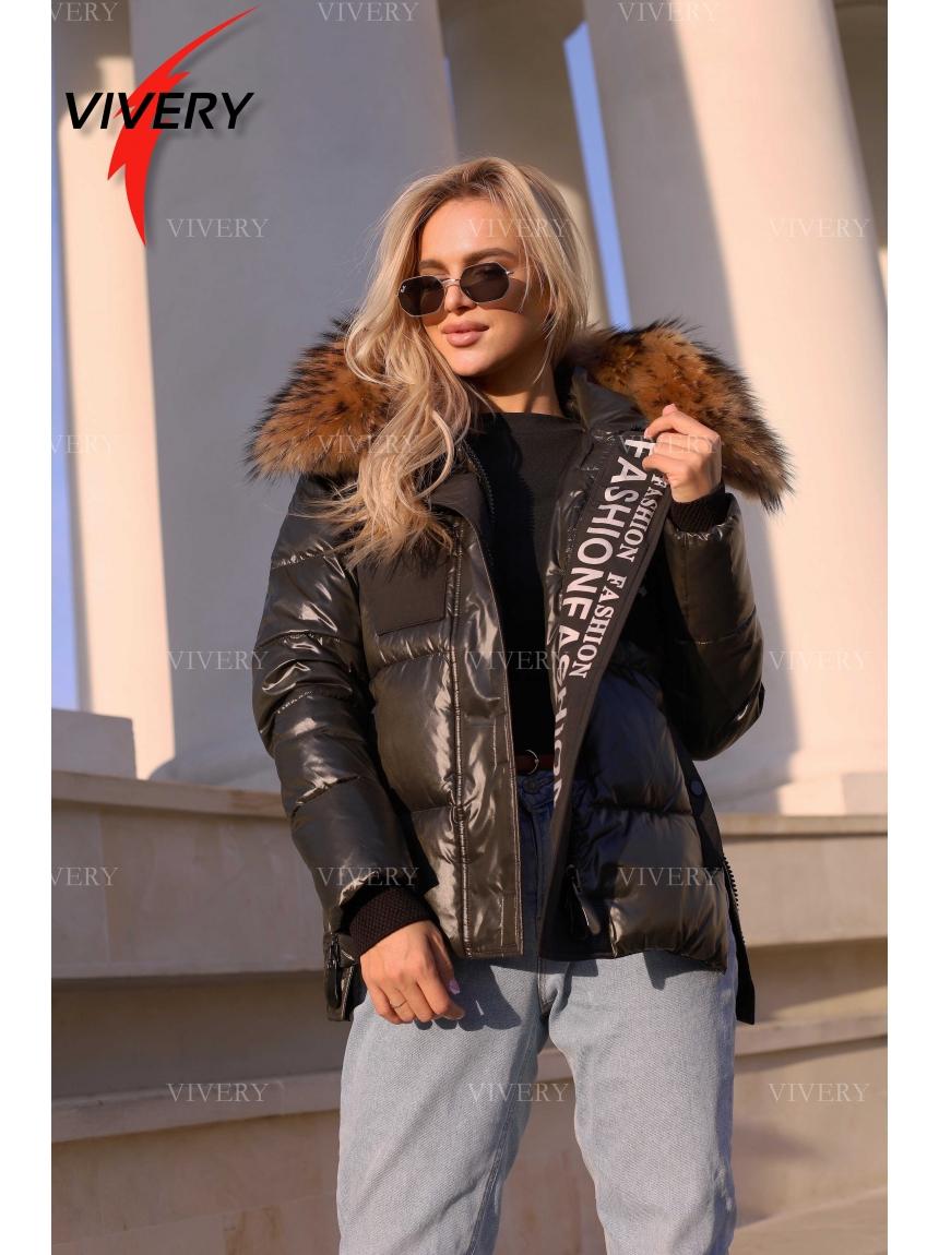Короткая зимняя куртка с мехом 921212, хаки
