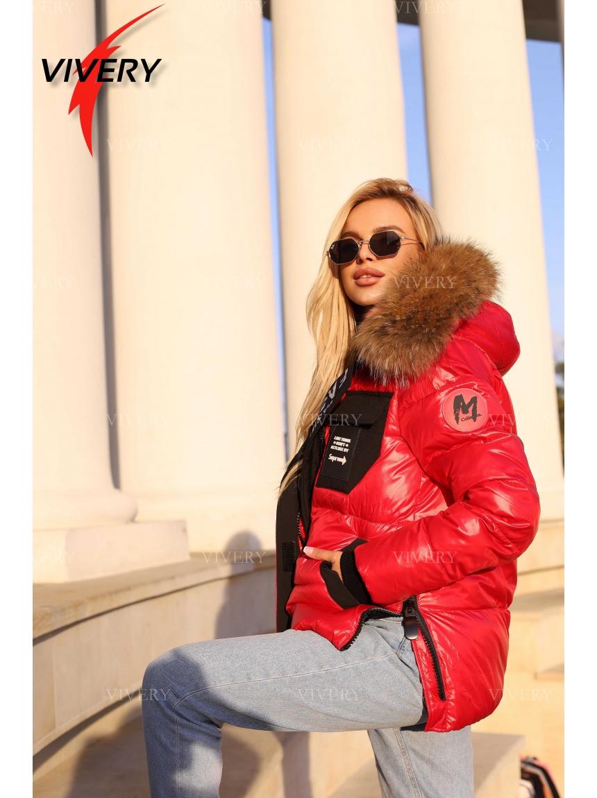 Короткая зимняя куртка с мехом 921212, красная